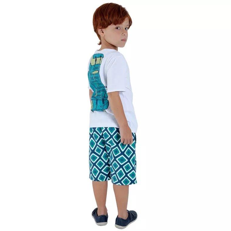 ee42bfb59 ... Camiseta Branca Expedição com Desenho Mochila nas Costas Infantil- Green