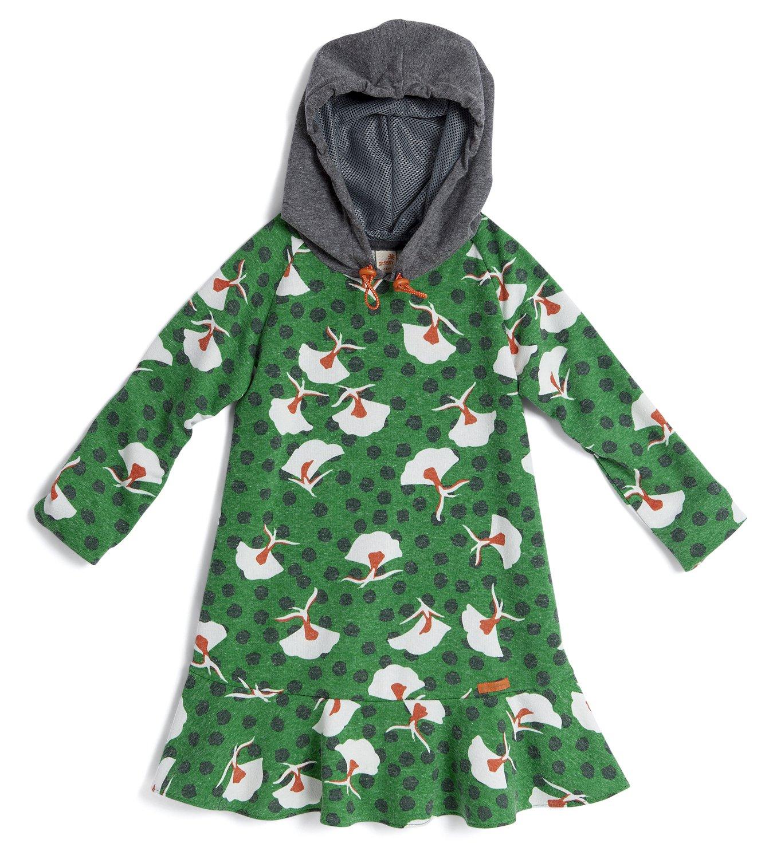 c8105e365 Vestido Manga Longa Liberdade com Capuz Estampa Livre Verde Infantil ...
