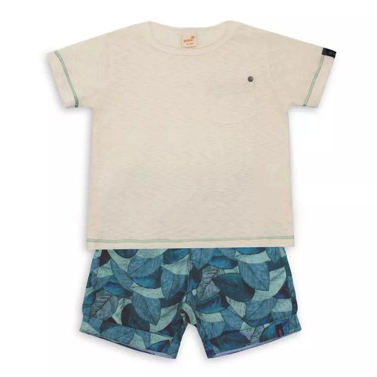 6f42401a7 Conjunto Bermuda Estampa Nuances e Camiseta Manga Curta Infantil - Green ...