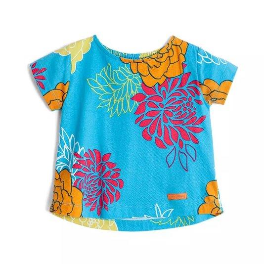 Camiseta Manga Curta Estampa Ikebana Azul Toddler - Green