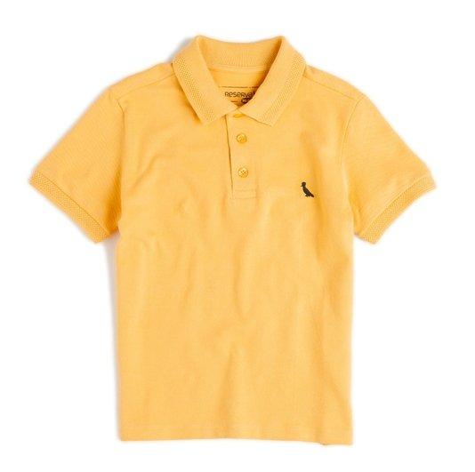 Camiseta Polo Manga Curta Piquet com Elastano Amarela Infantil - Reserva Mini