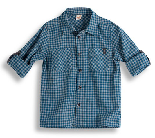 Camisa Manga Longa Super 8 Xadrez Turquesa e Cinza Toddler - Green