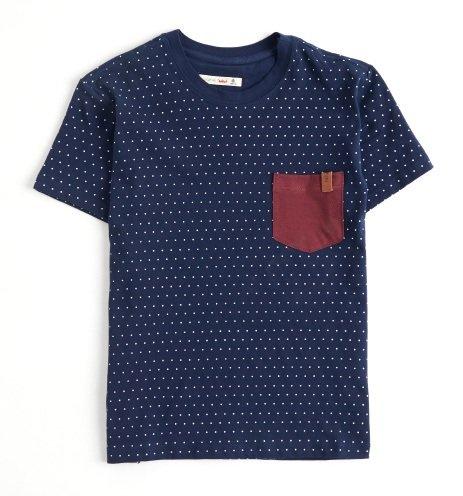 Camiseta Manga Curta Marinho com Bolso Contraste Infantil - Reserva Mini