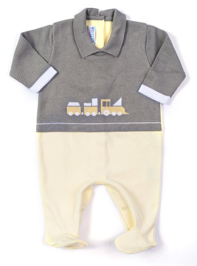 Macacão Trenzinho Mix Tricot Cinza Algodão Amarelo 100% Algodão - Verivê Baby