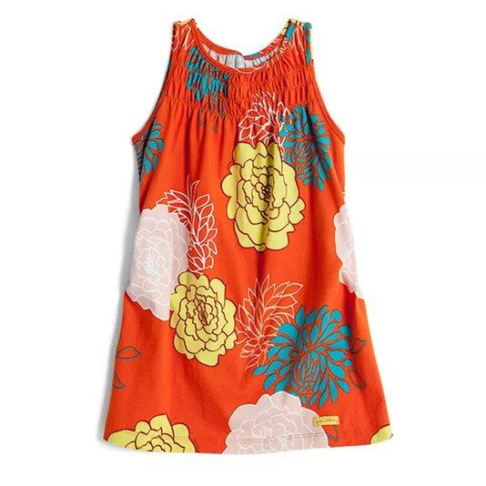Vestido Regata Estampa Ikebana Laranja Toddler - Green