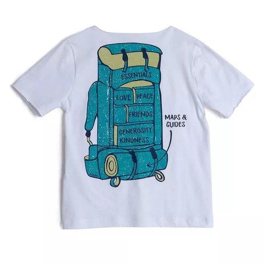 Camiseta Branca Expedição com Desenho Mochila nas Costas Infantil- Green