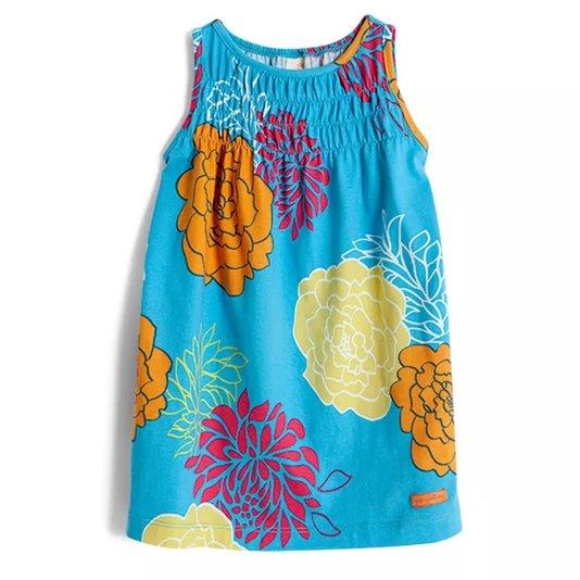 Vestido Regata Estampa Ikebana Azul Infantil - Green