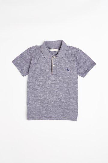 Camiseta Polo Cinza Mescla Chambray Infantil - Reserva Mini