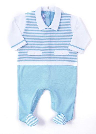 Macacão Listras Lapela Mix Azul e Branco Tricot 100% Algodão - Verivê Baby