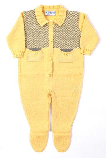 Macacão Jacard Bolsos Amarelo e Cinza Tricot 100% Algodão - Verivê Baby