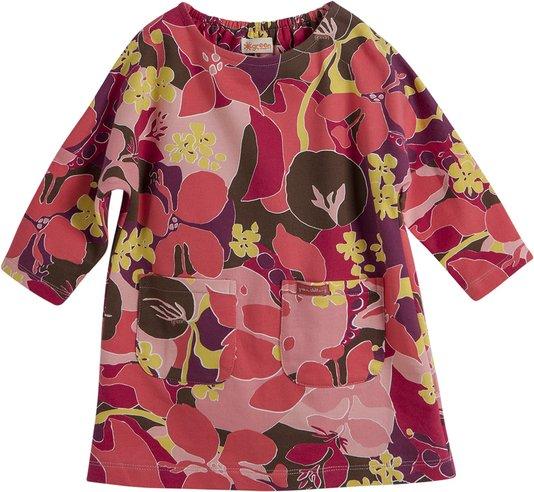 Vestido Manga Longa Estampa Mediterrâneo Rosa com Bolsos - Green