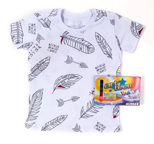 Camiseta Manga Curta Penas Devolva Minhas Cores Com Kit Pintura - Reserva Mini