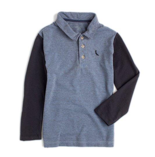 Camiseta Polo Manga Longa Mescla e Preto Infantil - Reserva Mini