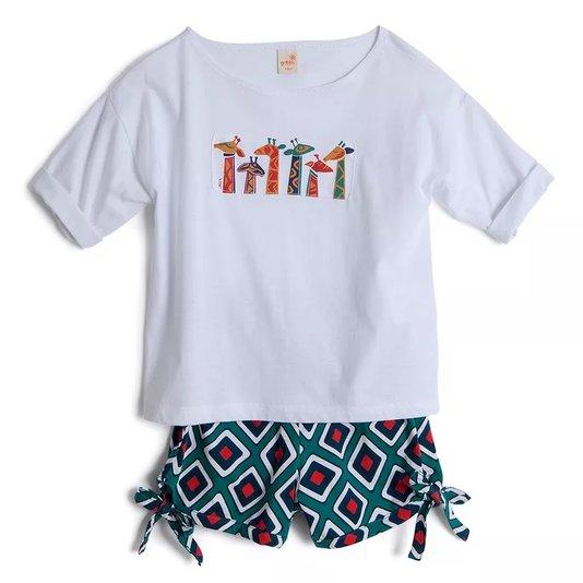 Conjunto Bermuda Estampa Tribal Verde e Camiseta Manga Curta Infantil - Green