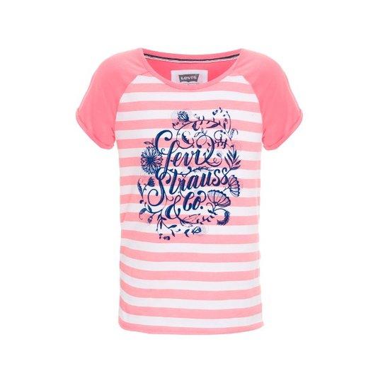 Camiseta Manga Curta Listras Rosa - Levi's