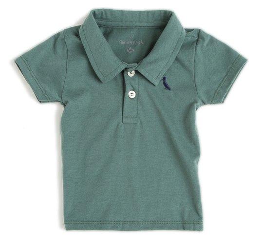 Camiseta Polo Comfort Básico Manga Curta Verde Militar Bebê - Reserva Mini