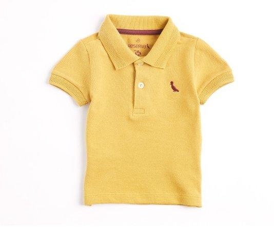 Camiseta Polo Manga Curta Piquet Elastano Mostarda Bebê - Reserva Mini
