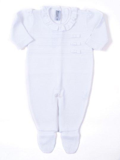 Macacão Classics Links Branco Lacinhos e Babados Tricot 100% Algodão - Verivê Baby
