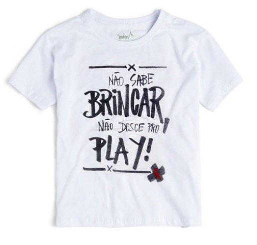 Camiseta Manga Curta Branco Não Sabe Brincar Não Desce Pro Play Infantil - Reserva Mini