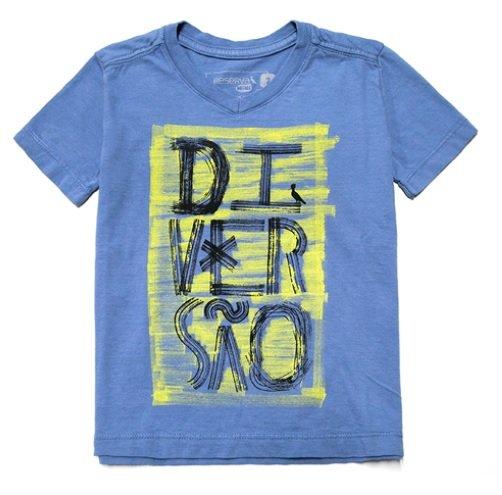 Camiseta Manga Curta Gola V Azul Diversão Infantil - Reserva Mini