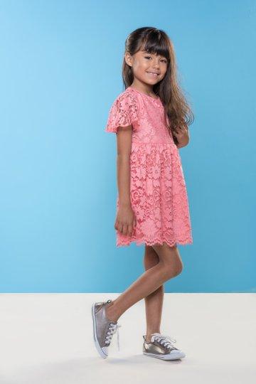 Vestido Manga Curta Gerbera  Renda Coral Infantil - Que te Encante