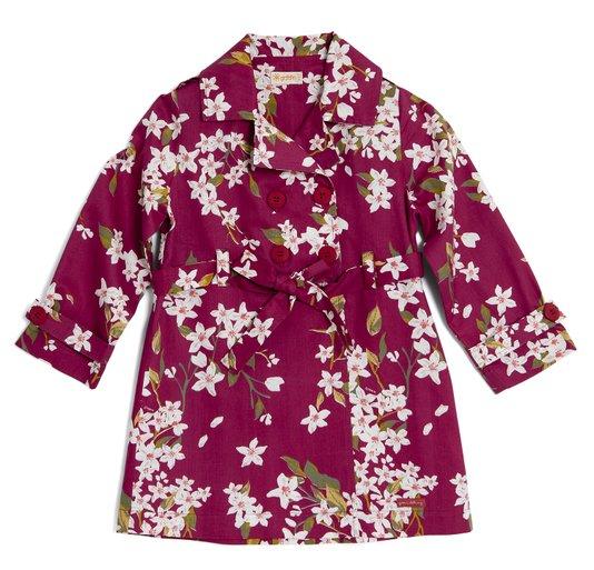 Vestido Trench Coat Manga Longa Estampa Sublime Vermelho Infantil - Green