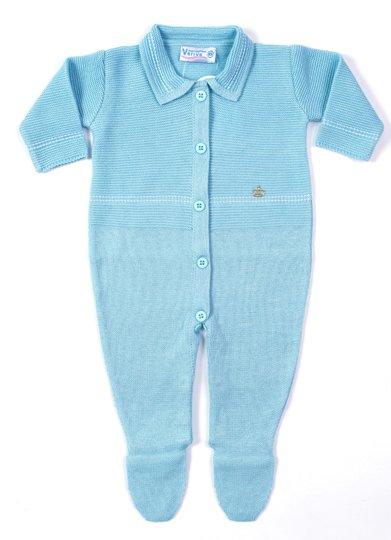 Macacão Pesponto Azul Tricot 100% Algodão - Verivê Baby