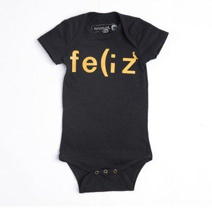 Body Manga Curta Preto Feliz Bebê - Reserva Mini
