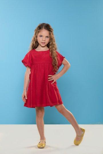 Vestido Manga Curta Provance Liso Vermelho com Pompons Infantil - Que te Encante