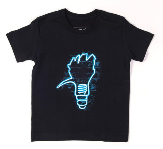 Camiseta Manga Curta Preta Pica Lamp Brilha no Escuro - Reserva Mini
