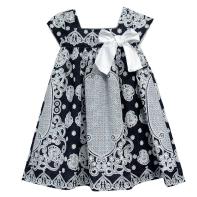 Vestido Devore Marinho e Branco com Laço Infantil - Tyrol
