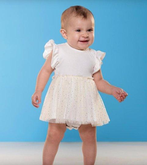 Vestido Body Mell Off White com Tule Bolinhas Bebê - Que te Encante