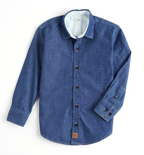 Camisa Manga Longa Jeans Balneário Infantil - Reserva Mini