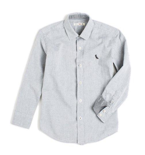 Camisa Manga Longa Regular Cinza Chambray Infantil - Reserva Mini