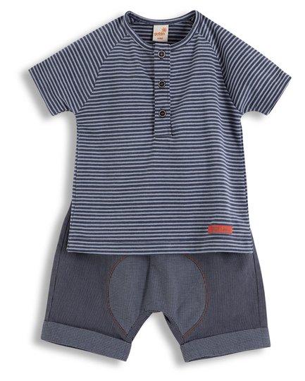 Conjunto Bermuda e Camiseta Manga Curta Decolagem Marinho e Cinza - Green