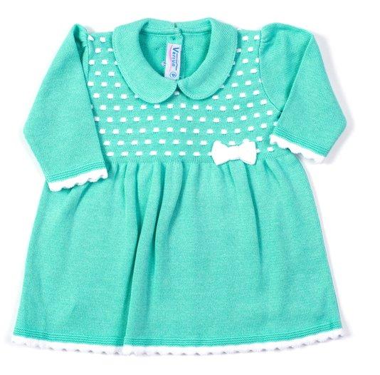 Vestido Flocos Color Verde e Branco Tricot 100% Algodão - Verivê