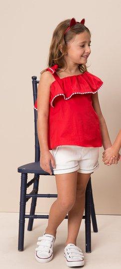 Bata Vermelha Com Pompons Infantil - Beabá