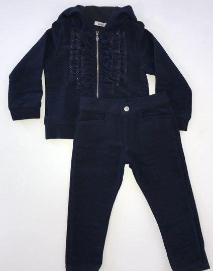 Conjunto Blue Day Calça e Casaco com Capuz e Babados com Brilhinhos Marinho Infantil - Tyrol