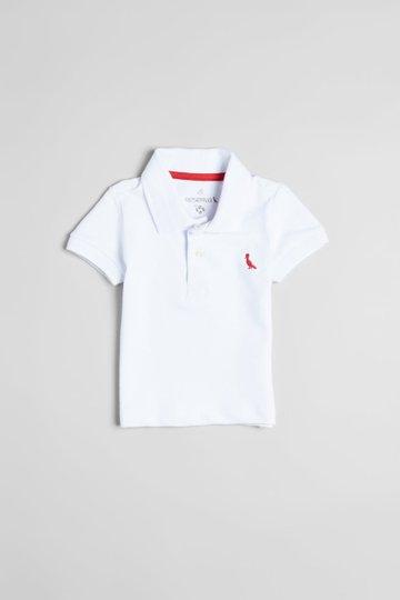 Camiseta Polo Manga Curta Piquet Elastano Branca Bebê - Reserva Mini