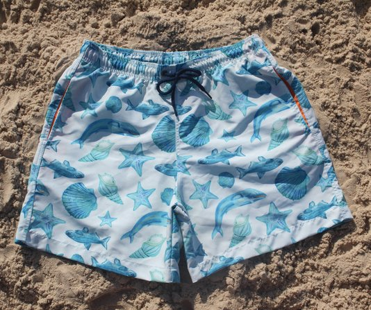 Bermuda de Banho Estampa Fundo do Mar Azul Adulto - Hardsport