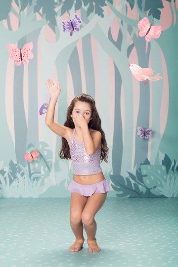 Biquini Mermaid Escamas Lilás Infantil - Que te Encante
