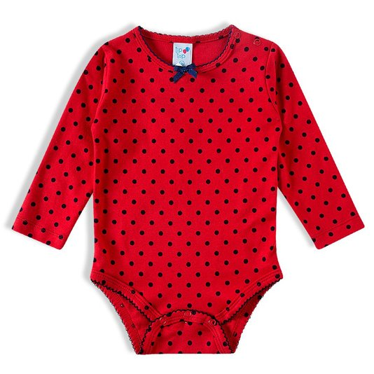 Body Longo Vermelho Bolinhas Bebê