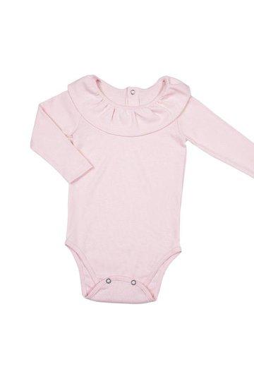 Body Manga Longa Babados Rose Bebê e Infantil - Nutti