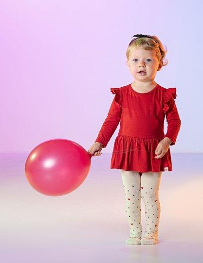 Body Vestido Nina Vermelho Bebê