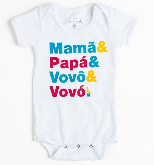 Body Mama e Papa Manga Curta Branco Bebê - Reserva Mini