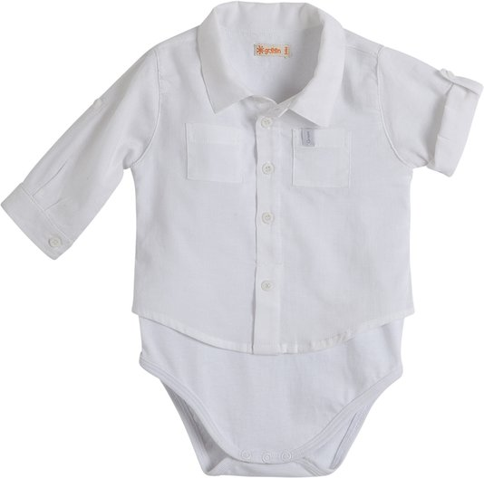 Camisa Manga Longa Com Body Branco Bebê - Green