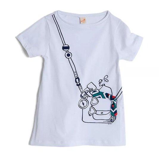 Blusa Manga Curta Branca com Desenho Bolsa Infantil - Green