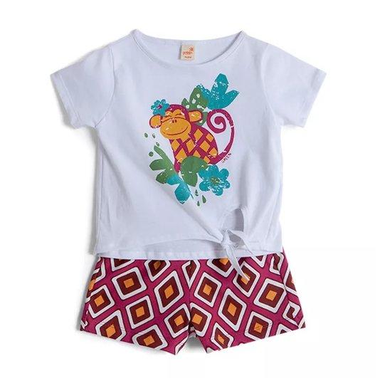 Conjunto Shorts Estampa Tribal Rosa e Blusa Branca com Nó Toddler - Green