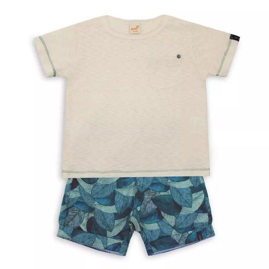 Conjunto Bermuda Estampa Nuances e Camiseta Manga Curta Infantil - Green