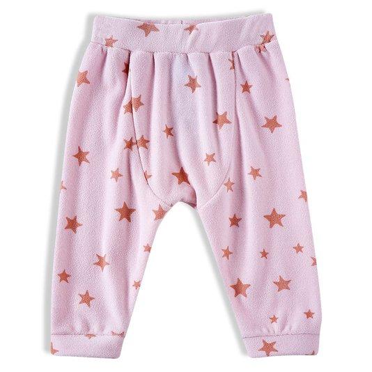 Calça Rosa Estrelas Plush Bebê